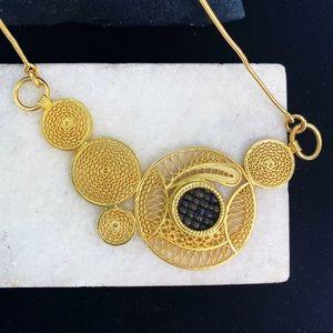 Geometric Gold Mesh Bib Statement Necklace